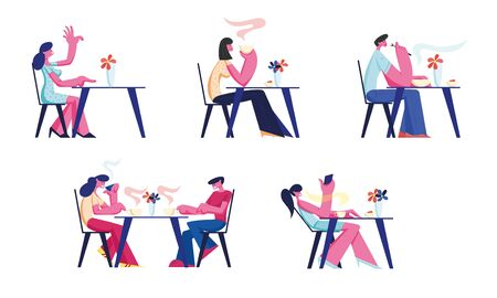People Relaxing in Restaurant or Cafe Set. Characters Sitting at Tables Drinking Coffee, Eating Meal Use Gadgets. Customer Characters Spend Time in Recreational Place. Cartoon Flat Vector Illustration