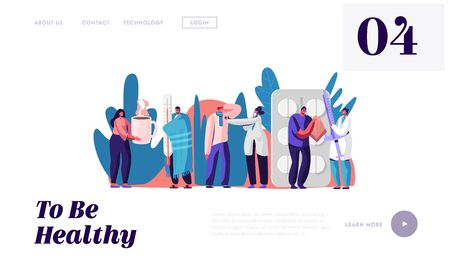Patients Visiting Clinic or Hospital Website Landing Page. Sick People at Doctor Appointment. Illness and Health Care Concept. Medicine Treatment Web Page Banner. Cartoon Flat Vector Illustration
