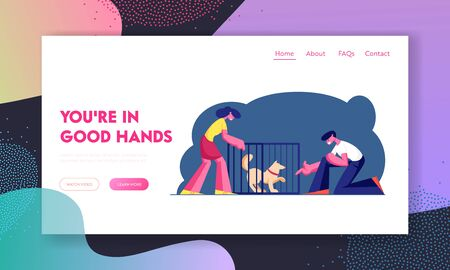 Pair Adopting Pet from Shelter Website Landing Page. Rehabilitation or Adoption Center for Stray and Homeless Animals. Guy Stretch Hand to Dog in Cage Web Page Banner. Cartoon Flat Vector Illustration