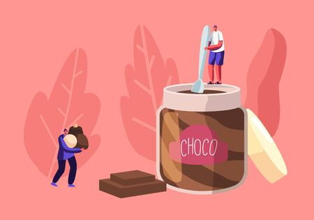 Sweets Lovers and Sweet-Tooth People Concept with Tiny Male Character Holding Spoon Stand on Huge Jar Eating Choco Paste, Man Carry Heap of Chocolate Candies in Hands. Cartoon Flat Vector Illustration