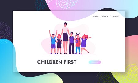Schoolkids and Pedagogue in Classroom Website Landing Page. School Kids Neatly Lined Up in One Row Together with their Teacher, Back to School Concept Web Page Banner. Cartoon Flat Vector Illustration