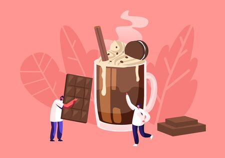 People and Chocolate Concept with Tiny Male Character Carry Huge Choco Bar, Man Stand at Cup with Cocktail Decorated with Cookies and Cream. Bakery Shop, Confectionery Cartoon Flat Vector Illustration Vectores