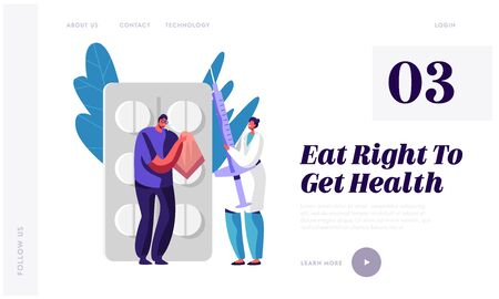 Illness or Sickness Website Landing Page. Man Blow his Nose to Handkerchief at Huge Pills Blister, Doctor Holding Syringe with Medicine for Injection Web Page Banner. Cartoon Flat Vector Illustration