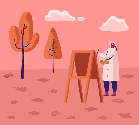 Young Woman Artist Wearing Warm Coat Work on Plein Air in City Park at Autumn Painting on Easel at Beautiful Landscape Background. Scenery Drawing Creativity Hobby Job Cartoon Flat Vector Illustration Ilustração