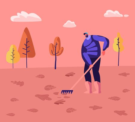 Janitor Male Character Street Cleaner Holding Rake Sweeping Lawn and Raking Fallen Colorful Leaves in City Park Landscape Background. Cleaning Service Activity Concept Cartoon Flat Vector Illustration 向量圖像