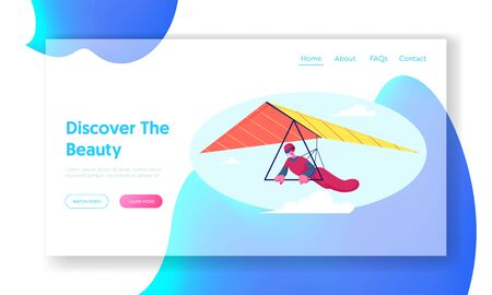 Extreme Outdoors Sport Activity Website Landing Page. Hang Glider Soaring Thermal Updrafts Suspended on Harness Below Wing, Sportsman Flying Paraplane Web Page Banner. Cartoon Flat Vector Illustration