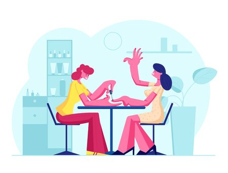 Woman Visiting Beauty Salon. Master Doing Manicure Procedure in Barbershop Interior for Girls. Grooming Place or Club with Professional Devices, Fashion Spa Body Care Cartoon Flat Vector Illustration 일러스트