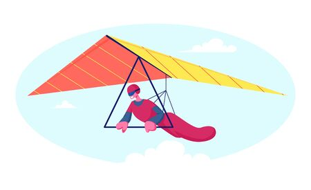 Hang Glider in Helmet and Uniform Soaring Thermal Updrafts Suspended on Harness Below the Wing, Extreme Outdoors Sport Activity, Sky Diving Sportsman Flying Paraplane Cartoon Flat Vector Illustration