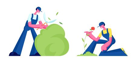 Happy Couple of Gardeners Working in Garden. Man Trimming Bush Woman Care and Planting Flowers to Ground. Active Outdoors Hobby, Environment Protection, Gardening Job Cartoon Flat Vector Illustration