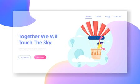 Woman Hiring Air Balloon Website Landing Page. Happy Smiling Girl Riding on Aerostat and Viewing around. Extreme Adventure Flight, Recreation Trip Web Page Banner. Cartoon Flat Vector Illustration 向量圖像
