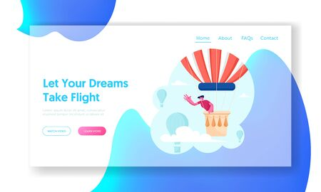 Tourist Flying on Air Balloon Website Landing Page. Young Man Having Trip by Aerostat Soaring in Cloudy Sky Enjoying Beautiful View. Flight Journey Web Page Banner. Cartoon Flat Vector Illustration Standard-Bild - 132627328