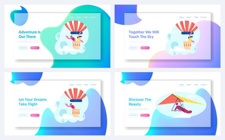 Love Story Adventure, Hang Gliding Recreation Website Landing Page Set. Couple Flying on Air Balloon at Valentine Day Trip, Sportsman on Hang Glider Web Page Banner. Cartoon Flat Vector Illustration Banque d'images - 132641284