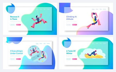 People Climbing Wall, Bobsleigh Competition Website Landing Page Set. Alpinists Rock Scaling Activity, Leisure. Sportsman Riding Bob. Outdoor Sport Web Page Banner. Cartoon Flat Vector Illustration Çizim