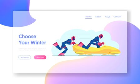 Wintertime Sledding Sport Website Landing Page. Sportsmen Bobsleigh Team Pushing Bob and Sliding Downhills during Winter Games Competition Web Page Banner. Cartoon Flat Vector Illustration