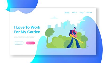Janitor in Uniform Blowing Autumn Leaves Away with Leaf Blower Website Landing Page. Man Cleaning Street from Fallen Foliage in Fall. Social Service Web Page Banner. Cartoon Flat Vector Illustration