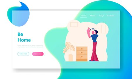 Man Hitting Nail to Wall for Hanging Picture Website Landing Page. Householder Hammering Pin to Wall Nailing with Hammer in Apartment. Home Renovation Web Page Banner. Cartoon Flat Vector Illustration Ilustração