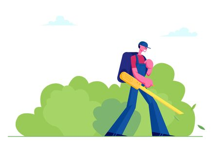 Man Janitor in Uniform with Big Backpack Blowing Autumn Leaves Away with Leaf Blower, Male Character Cleaning Street from Fallen Foliage in Fall Time. Social Service Cartoon Flat Vector Illustration Vetores