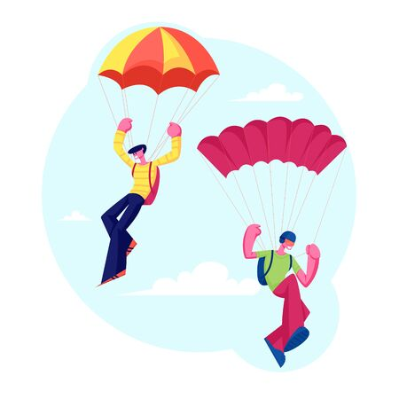 Skydiver Characters Jumping with Parachute Soaring in Sky. Skydiving Parachuting Sport. Couple of Parachutists Flying Through Clouds. Extreme Outdoors Activities. Cartoon Flat Vector Illustration