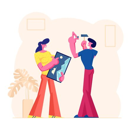 Young Couple Decorating Living Room Apartment, Man Hitting Nail for Hanging Picture on Wall, Woman Stand nearby Help him. Husband and Wife Decorate Interior Design. Cartoon Flat Vector Illustration