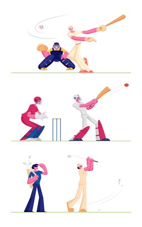 Set Golf and Baseball Players Isolated on White Background. People Play on Course Hitting Ball to Hole, Batter Hitter Hitting Ball Catcher Prepare to Get it. Cartoon Flat Vector Illustration, Clip Art