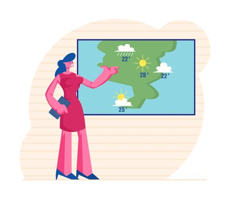 Television Anchorwoman at Studio Forecast Weather During Live Broadcasting. Woman Meteorologist Announcer Reporter Forecasting Sunny and Rainy Summer Days in Tv News. Cartoon Flat Vector Illustration