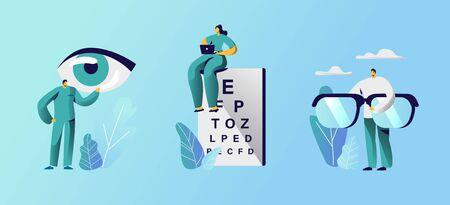 Oculist Doctors Set, professionelle Optiker-Untersuchungsgeräte für die Behandlung von Sehbrillen und eine Tabelle für die Sehprüfung. Medizinische Optiker-Behandlung Fokus Correction.Cartoon-flache Vektor-Illustration