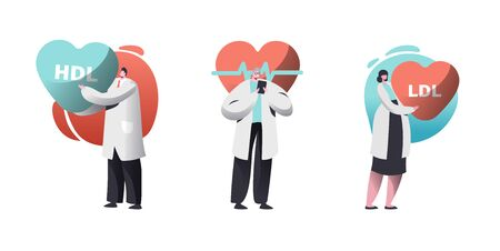 Cardio Healthcare Set with Male and Female Cardiology Doctors Checking Patient Pulse Heart Rate or HDL LDL High and Low Density Lipoproteins Rate. Health Care Workers. Cartoon Flat Vector Illustration  イラスト・ベクター素材