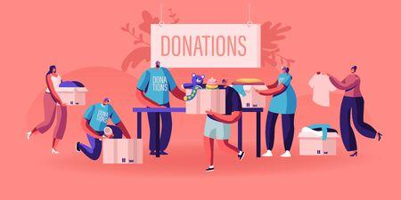 Donazione e concetto di beneficenza. Personaggi maschili e femminili che portano scatole con cose e vestiti diversi per persone povere che appaiono in situazioni di vita complicate. Cartoon piatto illustrazione vettoriale