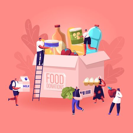Tiny People Filling Cardboard Donation Box with Different Food and Products for Help to Poor People in Shelter, Support Social Care, Volunteering and Charity Concept. Cartoon Flat Vector Illustration