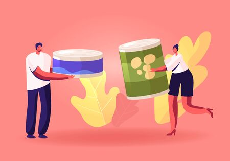People Bringing Foodstuffs for Collecting Donation Box. Volunteers Prepare Food to Poor People. Man and Woman Holding Canned Food Jars Poverty and Volunteering Concept Cartoon Flat Vector Illustration Vectores