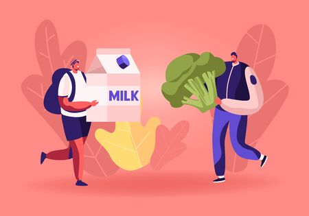 Male Characters Carry Huge Milk Box and Broccoli for Collecting Donation Box. Altruistic Behavior, Togetherness and Philanthropy Concept. Men Volunteers Teamwork. Cartoon Flat Vector Illustration  イラスト・ベクター素材
