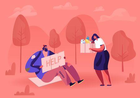 Obdachloser sitzt auf dem Boden mit Typenschild. Männlicher Bettler Charakter mit Schild Karton um Hilfe bitten. Freiwillige Frau, die ihm Box mit Spende gibt. Armutskonzept-Karikatur-flache Vektor-Illustration