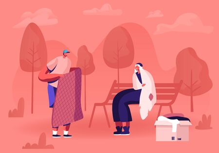 Young Man Volunteer Bringing New Warm Blanket to Woman Beggar Wrapping to Old Ragged Plaid Sitting on Bench in City Park. Charity Volunteering and Donation Concept. Cartoon Flat Vector Illustration