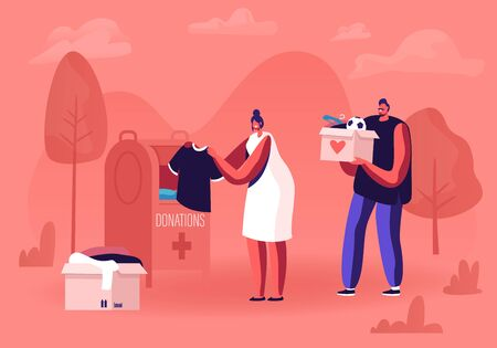 Man and Woman Volunteer Sorting Clothes and Collecting Things to Put in Donation Box Standing on Street for People who Need Help Orphans and Beggars, Donation Charity Cartoon Flat Vector Illustration