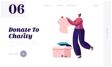 Woman Participating at Charity Website Landing Page. Selfless Kind Female Character Bring Box with Clothes for Desperate Poor People Living on Street Web Page Banner. Cartoon Flat Vector Illustration