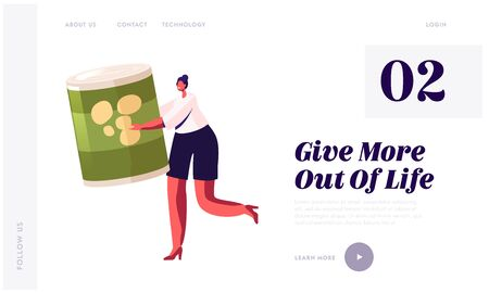 Poverty and Volunteering Website Landing Page. Woman Holding Canned Food Jar. People Bringing Foodstuffs for Collecting Donation Box, Social Support Web Page Banner. Cartoon Flat Vector Illustration