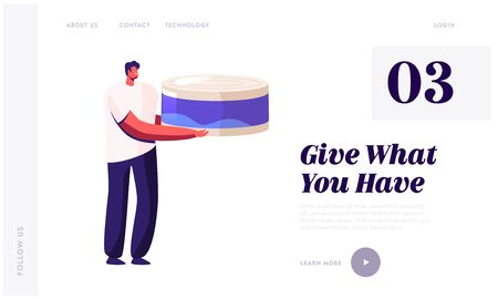 Volunteer Bringing Food to Poor People Website Landing Page. Man Holding Huge Canning Food Jar for Collecting Donation Box for Beggars and Homeless Web Page Banner. Cartoon Flat Vector Illustration Ilustrace