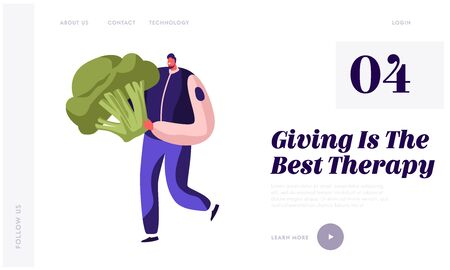 Food Donation Website Landing Page. Worker of Charity Organization Volunteer or Selfless Person Bringing Broccoli for Collecting Box for Homeless Web Page Banner. Cartoon Flat Vector Illustration
