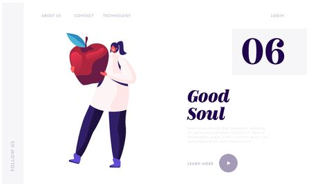 Participating in Food Donation Website Landing Page. Smiling Girl Carry Huge Apple for Donating and Distribution to Hungry Homeless People, Beggars Web Page Banner. Cartoon Flat Vector Illustration