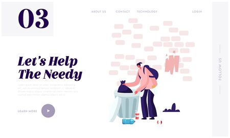 Homelessness and Unemployment Website Landing Page. Homeless Jobless Poor Woman Fumble in Litter Bin Searching Something to Eat. City Bum Lifestyle Web Page Banner. Cartoon Flat Vector Illustration