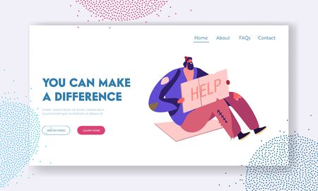 Poverty Unemployment Landing Page. Homeless Jobless Poor Man Sitting on Ground with Nameplate. Male Beggar Character with Sign Cardboard Ask for Help Web Page Banner. Cartoon Flat Vector Illustration Illustration