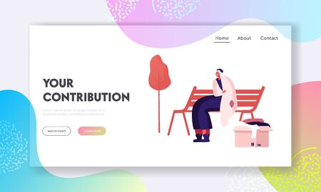 Homeless Woman Get Donation Website Landing Page. Unemployed Female Character Sitting on Bench in Park Wrapping to Old Plaid, Box with Clothes nearby Web Page Banner. Cartoon Flat Vector Illustration