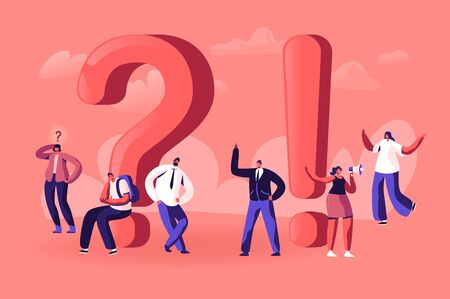People Searching and Giving Information, Tiny Male and Female Characters around Huge Exclamation and Question Marks. Students Promoters and Businesspeople Communicate. Cartoon Flat Vector Illustration