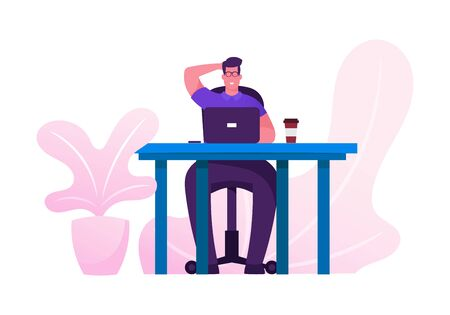 Business Man at Desk Work Hard Analysing Project Statistics on Laptop. Businessman Data Analysis Working Process, Brainstorm and Searching Solution Cartoon Flat Vector Illustration, Horizontal Banner Illustration
