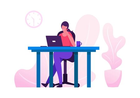 Office Worker Busy Business Woman or Freelancer Working on Laptop Sitting at Table Workplace Thinking of Task. Freelance Outsourced Employee Occupation Brainstorm. Cartoon Flat Vector Illustration Vettoriali