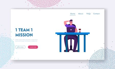 Brainstorm and Searching Solution Website Landing Page. Business Man Work Hard Analysing Project Statistics on Laptop. Businessman Working Process Web Page Banner. Cartoon Flat Vector Illustration