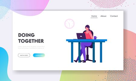 Employee Brainstorm Website Landing Page. Office Worker Busy Business Woman or Freelancer Working on Laptop Sitting at Table Workplace Thinking of Task Web Page Banner Cartoon Flat Vector Illustration