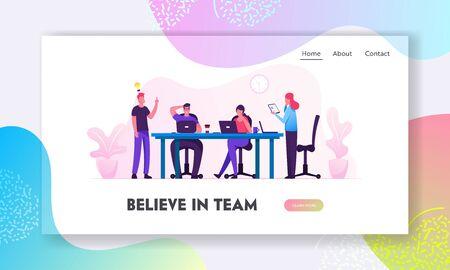 Page de destination du site Web de remue-méninges. Les personnes créatives au bureau ont l'idée de travailler ensemble au bureau. Équipe réussie dans l'espace de coworking développant la bannière de la page Web du projet. Illustration vectorielle plane de dessin animé
