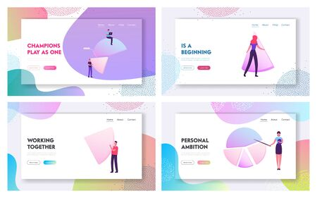 Management and Marketing Statistics Website Landing Page Set. Businesspeople and Huge Pie Chart Graphics Corporate Financial Forecast and Data Analysis Web Page Banner Cartoon Flat Vector Illustration Ilustración de vector