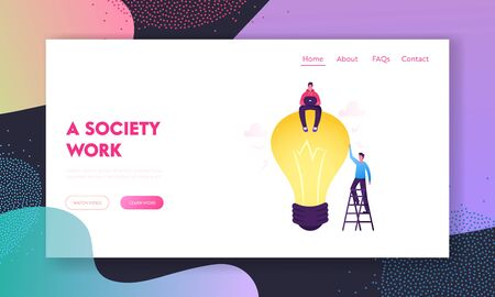 Business Team Work on Project Searching for Creative Idea Website Landing Page. Man Sitting on Huge Light Bulb. Team Search Insight for Development Web Page Banner. Cartoon Flat Vector Illustration